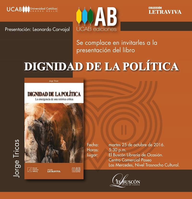 """Presentación del libro """"Dignidad de la Política"""" en el buscón"""