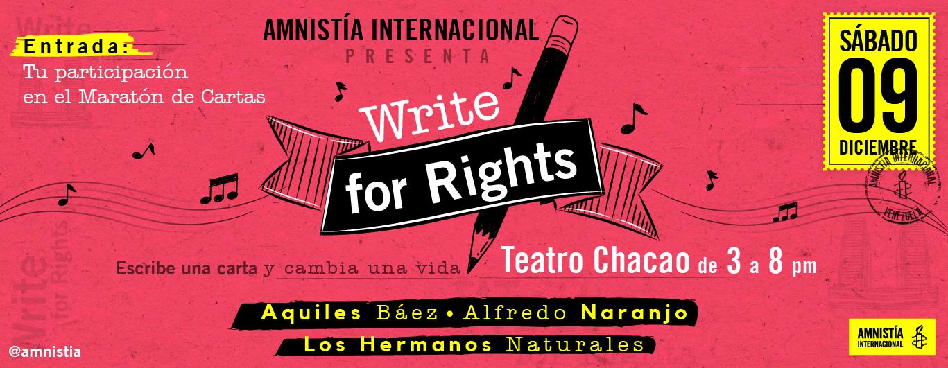 """Concierto """"WriteForRights, escribe por los derechos humanos"""""""