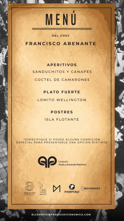 Menú por el chef Francisco Abenante