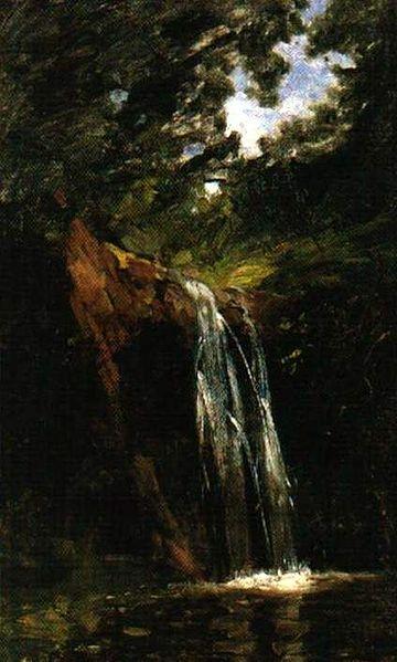Arturo Michelena (1896) La Cascada de Gamboa. óleo sobre tela 90 x 55 cm